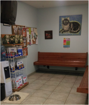 As soon as you and your pet walk in, there are refreshments for both you and your pets in the Waiting Room!
