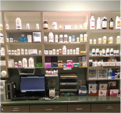 Our fully stocked pharmacy, with the most up to date medications.